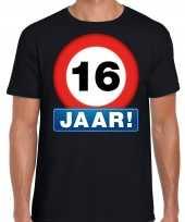 Stopbord 16 jaar verjaardag t-shirt zwart voor heren
