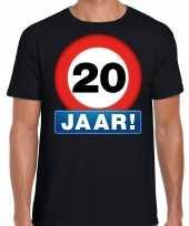 Stopbord 20 jaar verjaardag t-shirt zwart voor heren