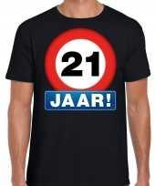 Stopbord 21 jaar verjaardag t-shirt zwart voor heren