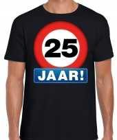 Stopbord 25 jaar verjaardag t-shirt zwart voor heren