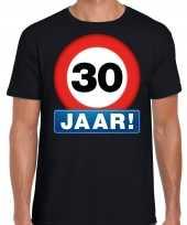 Stopbord 30 jaar verjaardag t-shirt zwart voor heren