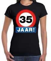 Stopbord 35 jaar verjaardag t-shirt zwart voor dames