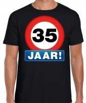 Stopbord 35 jaar verjaardag t-shirt zwart voor heren