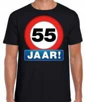 Stopbord 55 jaar verjaardag t shirt zwart voor heren