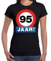 Stopbord 95 jaar verjaardag t-shirt zwart voor dames