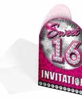 Sweet 16 uitnodigingskaarten 16 stuks