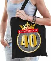 This queen is 40 verjaardag cadeau tas zwart voor dames