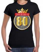 This queen is 80 verjaardag t shirt zwart 80 jaar voor dames