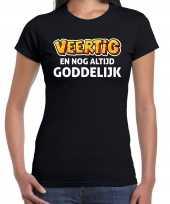 Verjaardag cadeau t-shirt 40 jaar veertig en goddelijk zwart voor dames