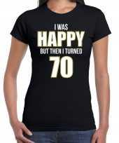Verjaardag cadeau t-shirt 70 jaar happy 70 zwart voor dames