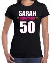 Verjaardag cadeau t shirt ouwe taart 50 jaar sarah zwart voor dames