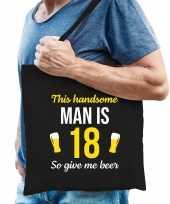 Verjaardag cadeau tas 18 jaar this handsome man is 18 give beer zwart voor heren