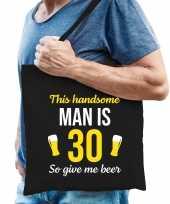 Verjaardag cadeau tas 30 jaar this handsome man is 30 give beer zwart voor heren