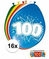 Versiering 100 jaar ballonnen 30 cm 16x sticker