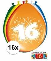 Versiering 16 jaar ballonnen 30 cm 16x sticker