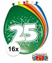 Versiering 25 jaar ballonnen 30 cm 16x sticker