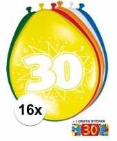 Versiering 30 jaar ballonnen 30 cm 16x sticker