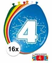 Versiering 4 jaar ballonnen 30 cm 16x sticker