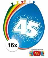 Versiering 45 jaar ballonnen 30 cm 16x sticker