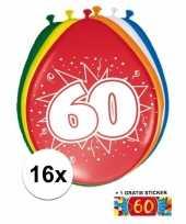 Versiering 60 jaar ballonnen 30 cm 16x sticker