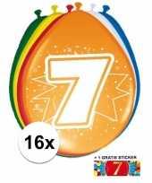 Versiering 7 jaar ballonnen 30 cm 16x sticker