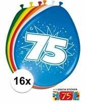 Versiering 75 jaar ballonnen 30 cm 16x sticker