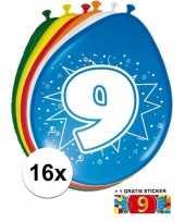Versiering 9 jaar ballonnen 30 cm 16x sticker